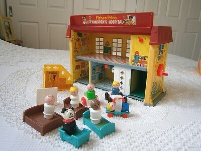 Vintage Retro 70s Fisher Price Hospital Set!! Childrens Toy Little People 1976
