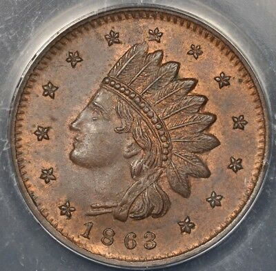 """1863 Anacs Ms63Rb Civil War Token Patriotic """"not One Cent"""""""
