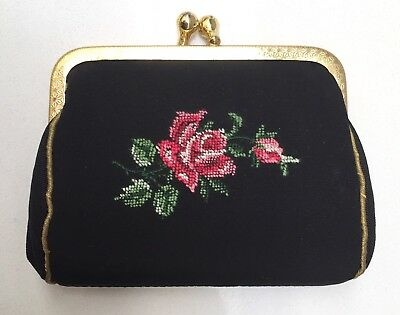 VINTAGE Black Floral Petit Point Embroidered Coin Purse Kiss Lock Peau de Soie