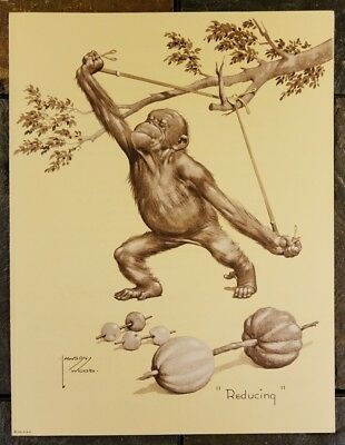 """Lawson Wood Monkey Working Out Print """"Reducing"""" VTG 1935 3M Company Advertising"""