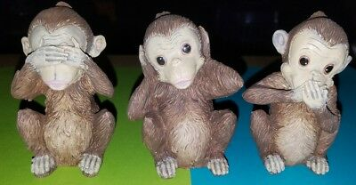 "🐵See No Evil🐵Hear No Evil🐵Speak No Evil🐵Monkeys🐵 3.5"" Resin Animal Statues"