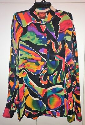 VINTAGE 1980s  JENNY KEE BLACK OPAL SILK BLOUSE SIZE LARGE GOOD CONDITION
