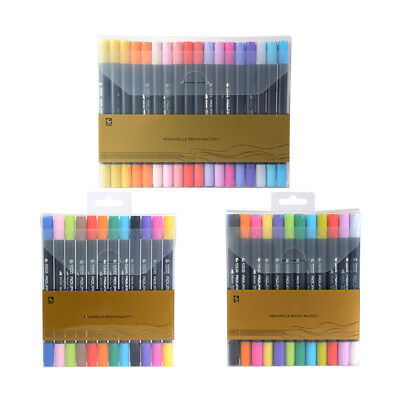 12/24/36-Color Watercolor Pen Set Dual Tip Aquarelle Drawing Painting Marker Art
