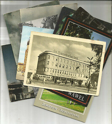 11 SUPER POSTCARDS FROM POLAND, 1950s ONWARDS, ONLY 2 STAMPS FROM THE 1990s