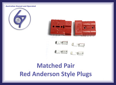 2X RED ANDERSON PLUGS 50 AMP PREMIUM HEAVY DUTY 6AWG 4WD Solar Caravan Camping