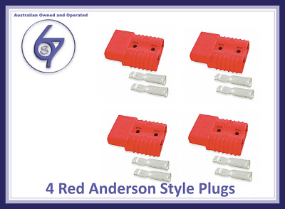 4 X Red Anderson Plugs 50 Amp Premium Heavy Duty 6Awg Pins