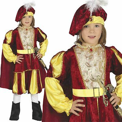 Kids Boys Tudor Medieval Prince Fancy Dress Book Week Costume Outfit New