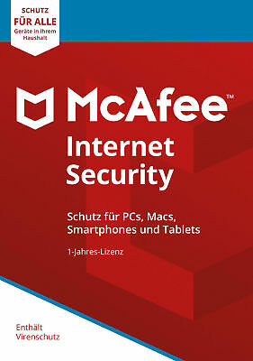 McAfee Internet Security 2019 Unlimited Geräte / 1Jahr Vollversion Antivirus