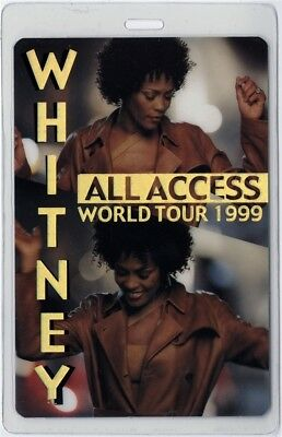 Whitney Houston authentic 1999 concert tour Laminated Backstage Pass ALL ACCESS