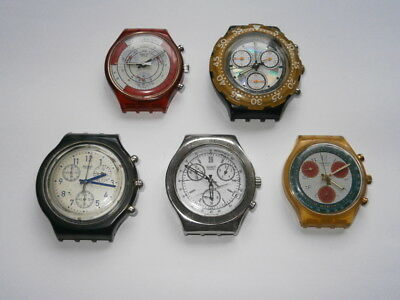 Job lot of old gents SWATCH CHRONOGRAPH quartz watches spares or repair