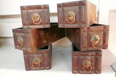 Antique Set Of 6 Wooden Sewing Cabinet Drawers Eastlake- No Frames -White?