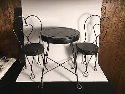 Antique Vintage Wrought Iron Doll Child Table Chairs Ice Cream Parlor Bistro Set