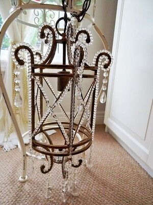 FRENCH EMPIRE antique GLASS BEADED CAGE CHANDELIER CRYSTAL LUSTRES PRISMS vintg