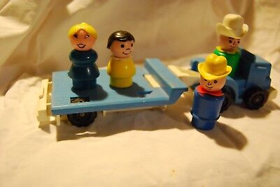 vintage fisher price little people -  tractor, trailer, farm people