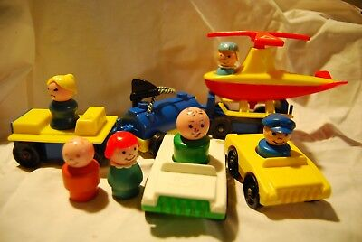 vintage fisher price little people -  helicopter, fuel truck, pilot etc.