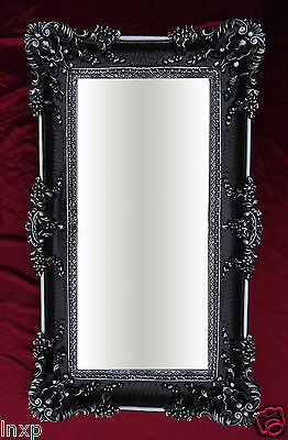XXL Renaissance Wall Mirror Black Silver Baroque Decoration Antique 96x57