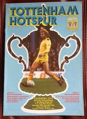 Tottenham Hotspur v Coventry City FA Cup Programme 1980-1981 Spurs