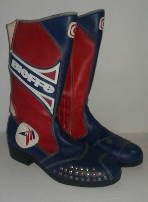 Vintage Bieffe Motorcycle Boots Red White Blue Womens 11 Mens 9 1980's.Leather