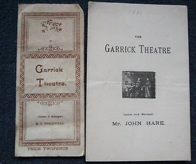 """2 Antique 19thc Theatre Programmes from The Garrick Theatre """"Sue"""" and """"Caste"""""""