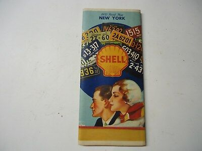 1932 Shell New York Road Map
