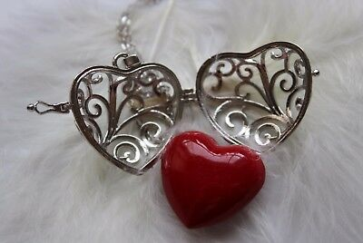 Angel Caller Pendant Heart Harmony Chime Ball Red Chain Stainless Steel silver