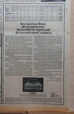 1967 newspaper ad for American Motors Rambler - fills gap between compacts