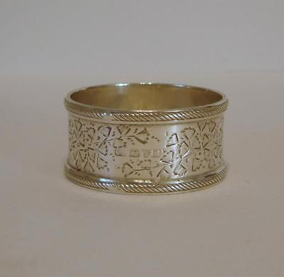 An Ornately Engraved Antique Sterling Silver Napkin Ring Chester 1902 28 Grams