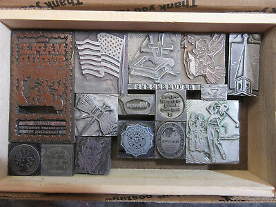 ( 16 ) Misc. Letterpress Print Blocks / Cuts - Solid Lead   J52