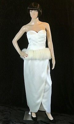 Victor Costa Vintage 1980s does 1950s Ivory Strapless Gown Fox Fur Peplum 10