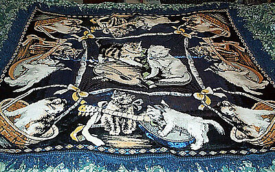 Large Vintage CAT KITTENS with Music Instruments Fringed Tapestry Rug
