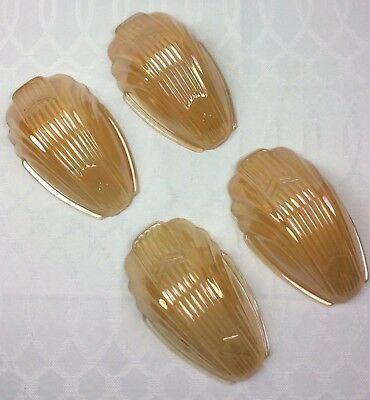 Set Of 4 Deco Chevron SLIP SHADES For Sconce Chandelier Iridescent Peach/Amber