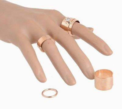 VERY NICE 4Pc LARGE Gold Silver Color Crystal Stacking Knuckle Midi Finger Ring