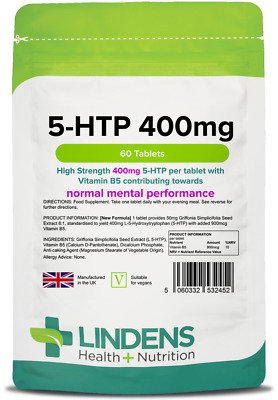 5-HTP 100mg x 60/120 Tablets; One A Day; Vegan: Lindens