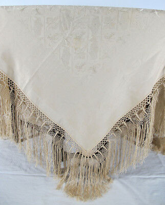 Antique Late 19th c Victorian Cream Silk Fringed Ladies Piano Shawl Scarf 1  yqz