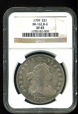 1799 $1 Draped Bust Silver Dollar XF45 NGC BB-162, B-6