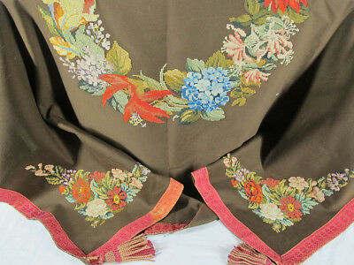Antique Late 19th c Victorian Floral Embroidered Tablecloth Shaw w/ Tassels  yqz