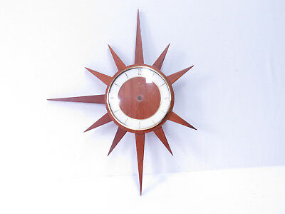 7A Vintage Retro Junghans Starburst Wall Clock PARTS MISSING NOT WORKING