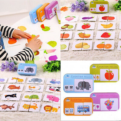 32pcs/box Baby Cartoon Educational Matching Cards Puzzles Game Toys for Children