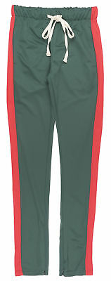 M Society Striped Track Pants Slim Athletic Fit Casual Bottoms Mens Hunter Green