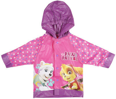 Toddler Paw Patrol Hooded Raincoat Slicker Vinyl Pink Nickelodeon Girls
