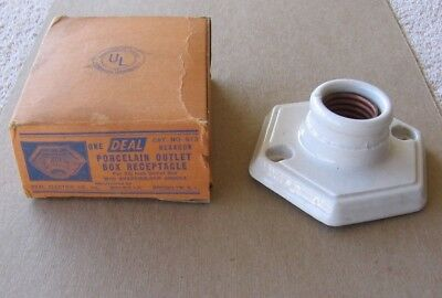 Antique Deal Porcelain Hexagon Outlet Box Receptacle #513 w Shadeholder Groove b