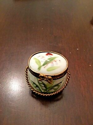 Limoges Box- Lily of the Valley with Lady Bug Purse