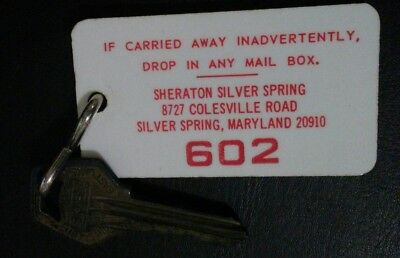 Vintage Sheraton Hotels Room 602 Key Ring Fob Silver Spring Maryland 20910 W/key