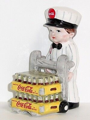 COCA-COLA DELIVERY MAN SALT and PEPPER Boy W/ Cases Coke Bottles Enesco 1997 MIB