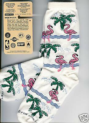 "PINK FLAMINGO SOCKS Pattern Birds and Palm Trees ""For Bare Feet"" Wms 8-10 NEW!"