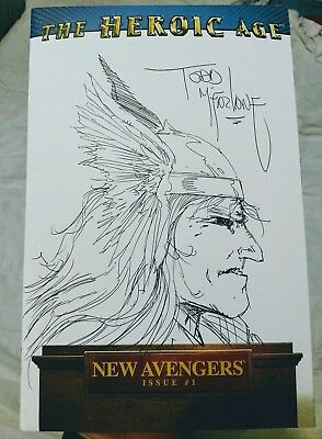 TODD McFARLANE THOR SKETCH & AUTOGRAPH ON AVENGERS VARIANT #1 SUPER RARE! WOW!!