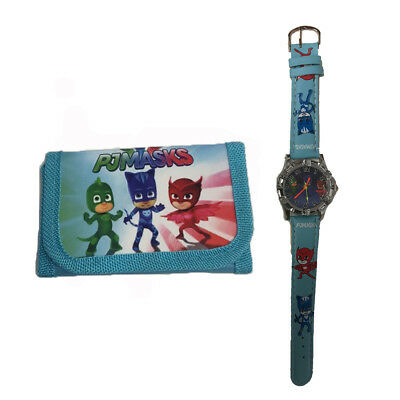 Kids Watch Wallet Set Boy Girl an Accessories PJ Masks Birthday Fun Gift