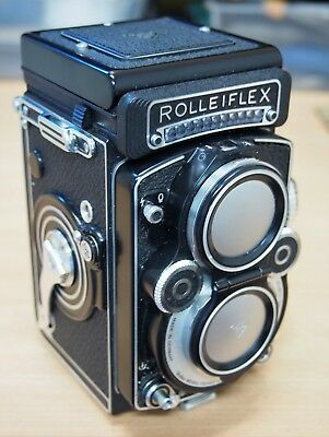 "Rolleiflex Germany Rare ""White Face"" 3.5F Planar Lens TLR Medium Format Camera"