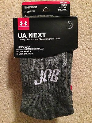 3 PAIRS Under Armour Youth Boys Med UA NEXT CREW Socks YMD 10.5-13.5