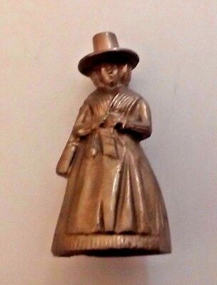 Colonial Pilgrim Woman Miniature Brass Bell Nice Condition Vintage Item